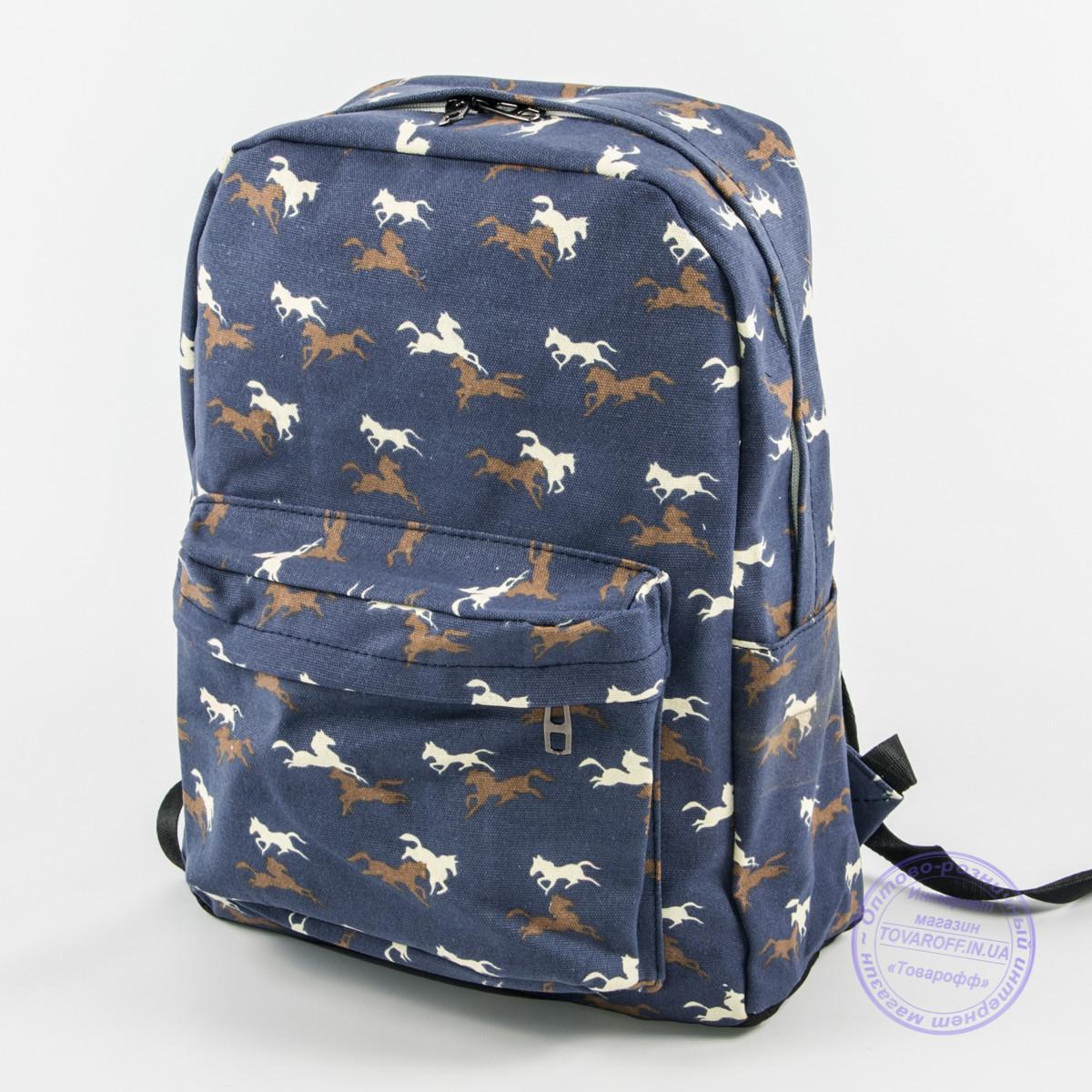 Оптом рюкзак для школьный/городской лошадки - синий - 1021