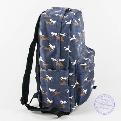 Оптом рюкзак для школьный/городской лошадки - синий - 1021, фото 3