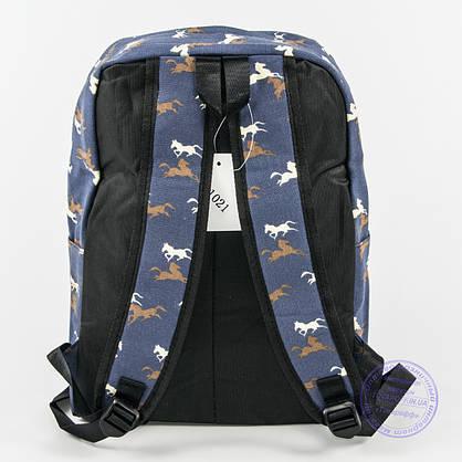Оптом рюкзак для школьный/городской лошадки - синий - 1021, фото 2