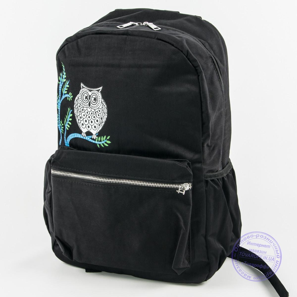 Оптом рюкзак для школы и прогулок с совой - черный - 8805