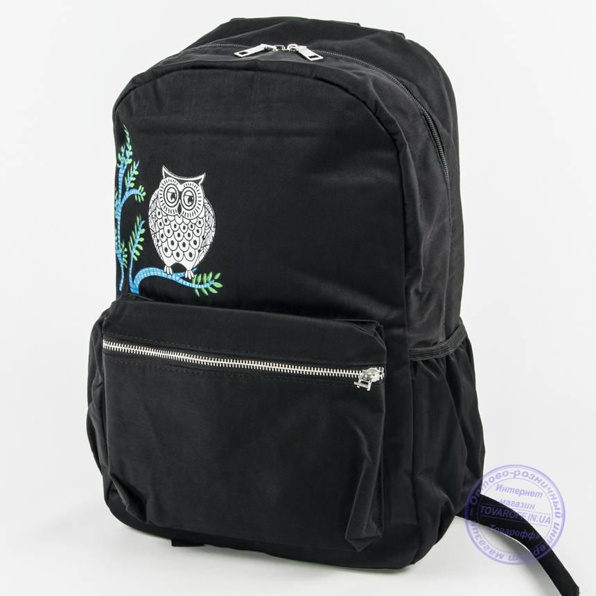 Оптом рюкзак для школы и прогулок с совой - черный - 8805, фото 2