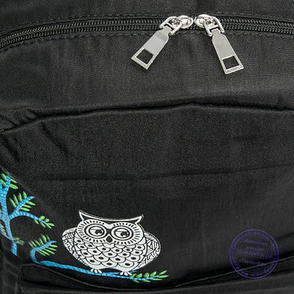 Оптом рюкзак для школы и прогулок с совой - черный - 8805, фото 3
