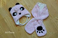 Зимний набор шапка и шарф для девочки Панда синтепон, подкладка коттон