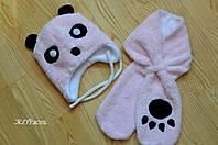 Зимний набор шапка и шарф для девочки Панда подкладка флис