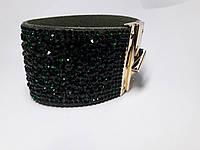 Браслет кожаный широкий стразы арт.230700