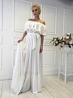 Белое платье в пол шифоновое очень красивое