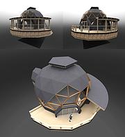 Строительство быстровозводимых домов. Проект каркасный купольный дом 3v5.8+рейзер, фото 1