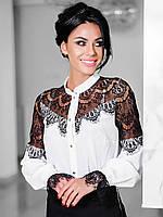 Стильна біла блузка з гіпюром Glory (XS, S, M, L, XL)