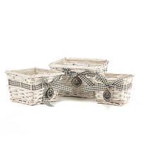 Квадратные плетеные корзины в наборе 3 штуки