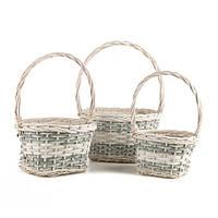 Плетеные корзины с ручкой в наборе 3 штуки