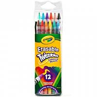12 цветных карандашей - вертушка с ластиками, Crayola (68-7508)