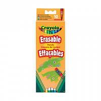 10 цветных карандашей с ластиками, Crayola (3635)