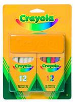 Мелки белые и цветные с губкой (12+12), Crayola (98268)