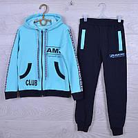 """Спортивный костюм детский """"AMD"""" для девочек. 7-12 лет. Темно-синий+голубой. Оптом"""