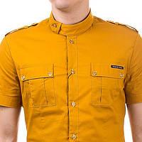 Дизайнерская однотонная рубашка с коротким рукавом с накладными карманами и оригинальным воротником