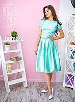 Костюм женский модный кружевной топ и атласная юбка миди разные цвета Kb500