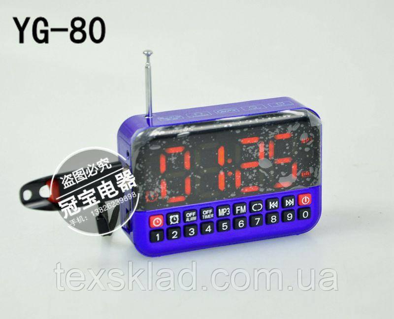 Портативная колоночка YG-80 с USB и часами!!!