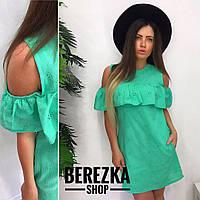 Платье модное короткое с воланом прошва разные цвета SMs1636