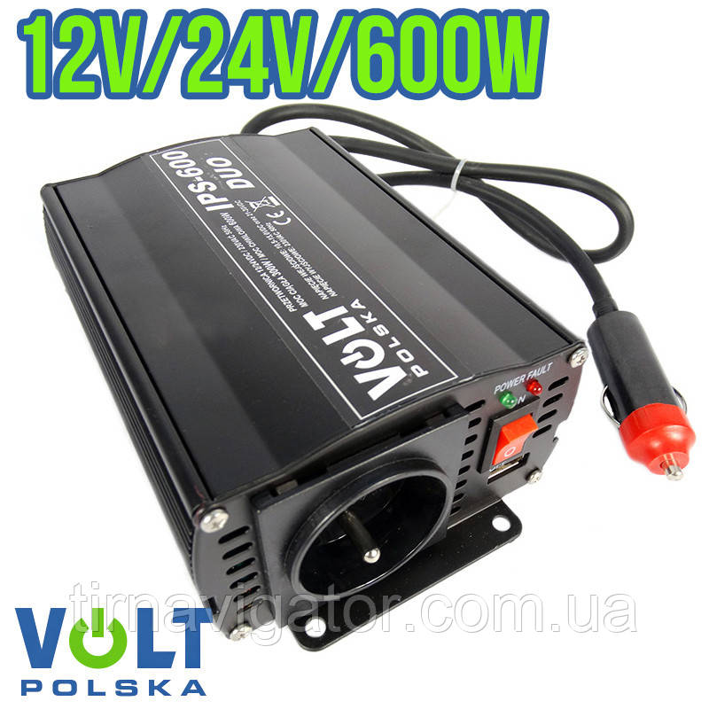 Инвертор автомобильный VOLT Polska DUO 12/24V-220V IPS-300/600 (600W max)