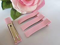 Металлическая заколка с репсовой лентой, 5 см., цвет светло-розовый