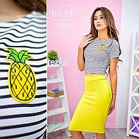 Костюм женский модный футболка в полоску c вышивкой и юбка миди разные цвета Ks501