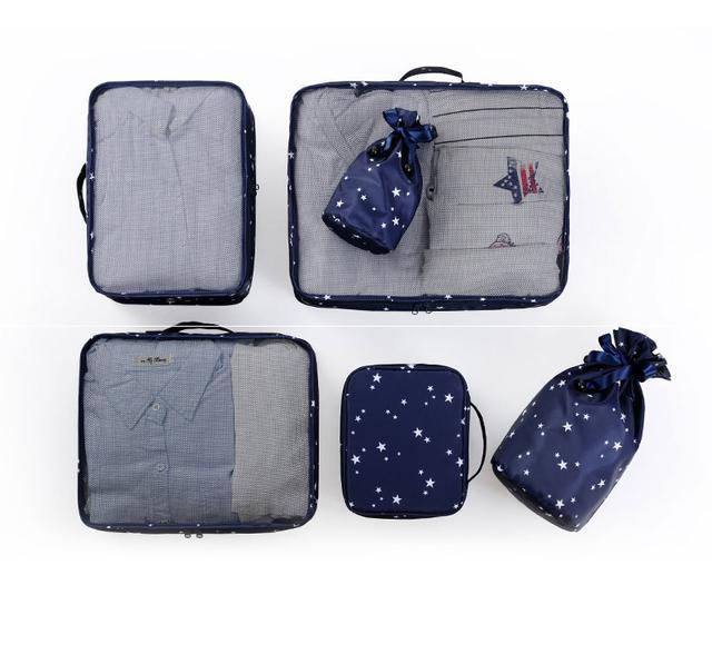 Дорожный комплект сумочек в чемодан в звезды синий