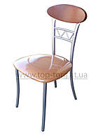 АКЦИЯ Стул С3308 металлический, сатин, мягкое сиденье, персиковый кожзам (экокожа), в кухню,  купить
