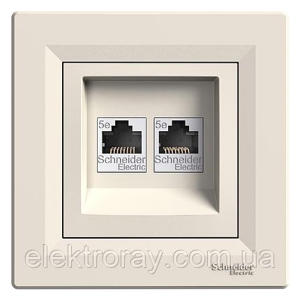 Двойная розетка компьютерная 2 x CAT5 Schneider Asfora крем, фото 2