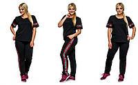 """Женский спортивный трикотажный костюм """"CIVANHY"""". Ткань. Размер: 50,52,54. Цвет: черный, красный."""