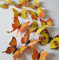Декор для праздников 3Д бабочки желтые