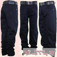 Тёмно синие школьные брюки с поясом для мальчика Размеры: 9-10-11-12 лет (5566)