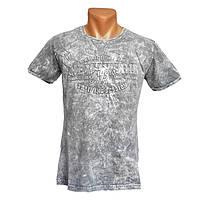 Мужская однотонная футболка New York - №2409, Цвет серый, Размер M
