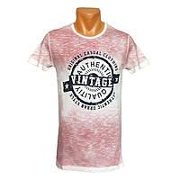 Мужская розовая футболка Vintage - №2411, Цвет розовый, Размер M