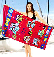 Женское пляжное полотенце - №2467, Цвет красный