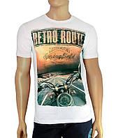 Красивая футболка Retro Route  - №2502, Цвет белый, Размер M