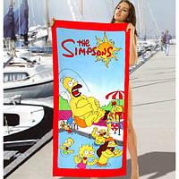 Детское пляжное полотенце The Simpsons - №2494, Цвет разноцветный