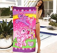 Детское пляжное полотенце My Little Pony - №2495, Цвет розовый