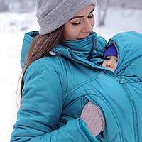 Слингокомплект капюшон-манишка для ребенка, манишка для мамы, слинговставка — Бирюза аксесссуары слингоношение, фото 1