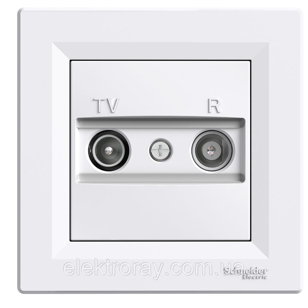 Розетка ТВ - Радио (TV-R)  проходная Schneider Asfora белая