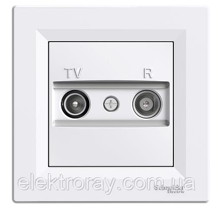 Розетка ТВ - Радио (TV-R)  проходная Schneider Asfora белая, фото 2