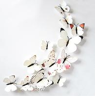 Интерьерная 3Д наклейка, 3д бабочки, белый цвет