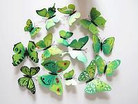Набор наклеек - 3Д бабочки для украшения, зеленые