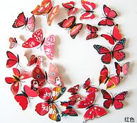 3Д бабочки для украшения, красный цвет
