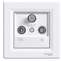 Розетка ТВ - Радио - Спутник (TV-R-SAT) концевая Schneider Asfora белая