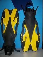 Ласты с открытой пяткой (пяточный ремень) DORFIN PL-451-L-XL (р-р L-XL-42-45, жёлт, син, красн, сер)