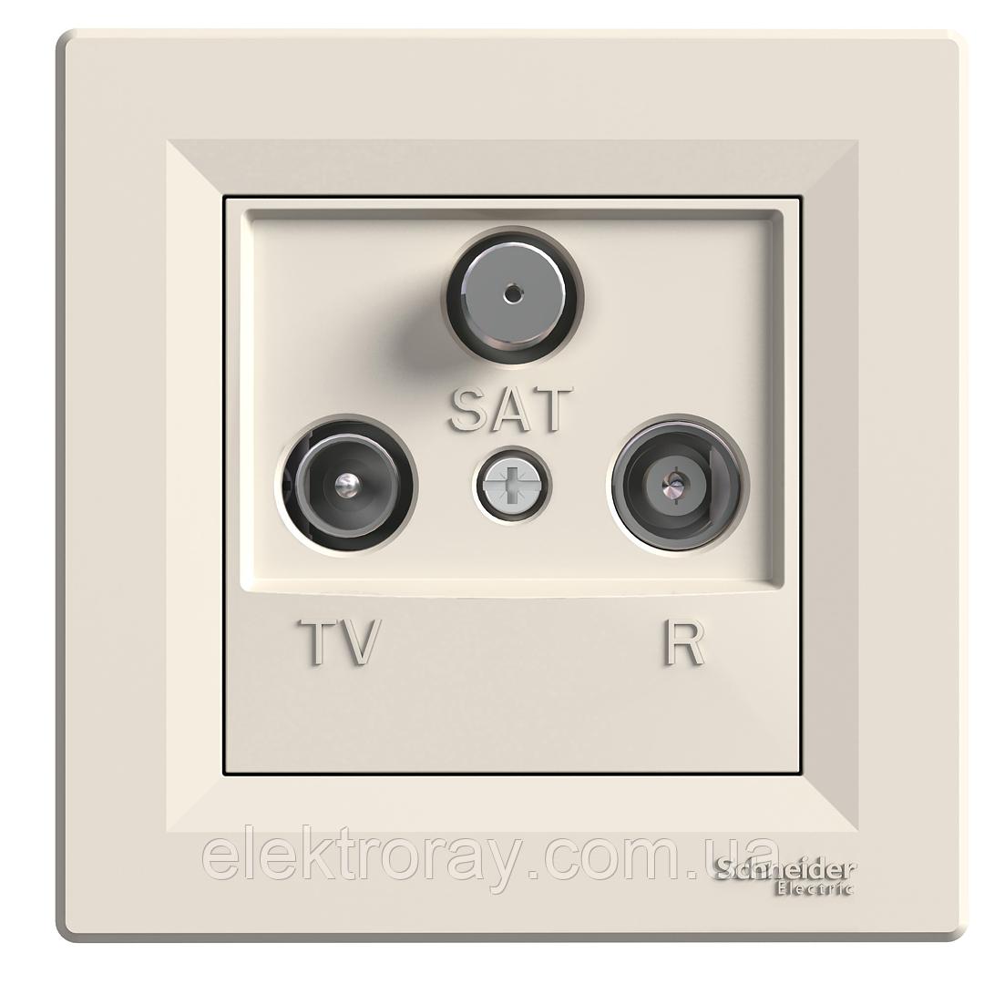 Розетка ТВ - Радио - Спутник (TV-R-SAT) проходная Schneider Asfora крем