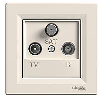 Розетка ТВ - Радио - Спутник (TV-R-SAT) концевая Schneider Asfora крем