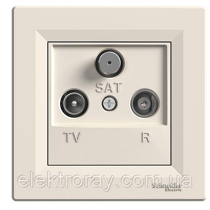 Розетка ТВ - Радио - Спутник (TV-R-SAT) проходная Schneider Asfora крем, фото 2