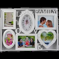 Фоторамка семейная с часами на 5 фото