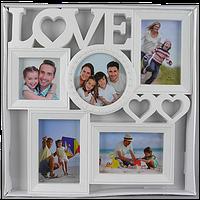 Семейная мультирамка коллаж на 5 фотографий с надписью love